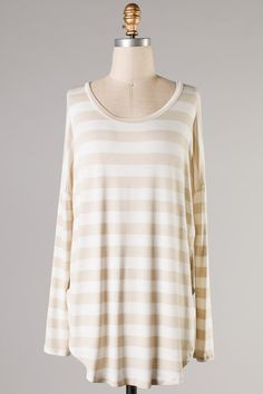 Leigh Striped Top - Taupe #ShopMCE
