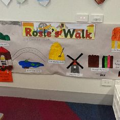 'Rosie's Walk' book walk - students use puppets of Hen and Fox to follow directions.