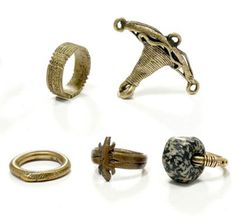 Burkina Faso | 4 rings and 1 pendant | Copper alloy and stone | Est. 200 / 400 CHF ~ (May '14)