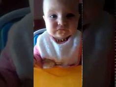 Cinda first baby eating apple