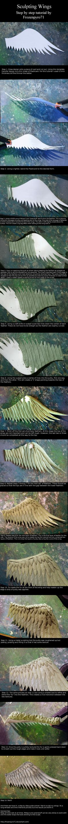 Sculpting wings tutorial This is clay but would be great for working with paper mache