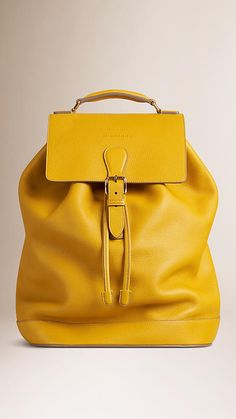 Bright straw Grainy Leather Backpack - Image 1