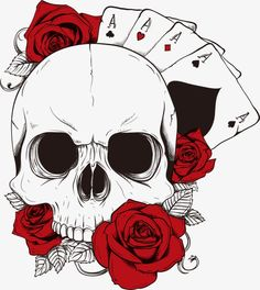 Vector poker and skull PNG and Vector Cool Art Drawings, Art Drawings Sketches, Tattoo Drawings, Tattoo Outline Drawing, Skull Tattoo Design, Skull Tattoos, Poker Tattoos, Skull Sketch, Totenkopf Tattoos