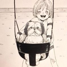 Happy Swing Portrait n.15 #inktober #inktober #子ども #犬 #イラスト #illustration #art #doggie #copic #girl #ink #swing #portrait #happy #shihtzu #friends #animal #comic