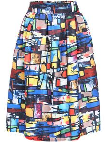 Multicolor Graffiti Print Midi Skirt