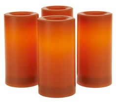 Candle Impressions Set/4 Flameless Indoor Outdoor Candles & Timer (orange)