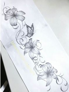 Blumen-Tattoo-Design - My list of best tattoo models Vine Tattoos, Tattoos Skull, Forearm Tattoos, Body Art Tattoos, Sleeve Tattoos, Lily Tattoo Sleeve, Tattoo Shoulder, Wrist Tattoo, Tattoo Drawings