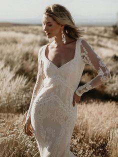 Long Sleeve High Split Flower Wedding Long Trailing Fishtail Girls Formal Dress