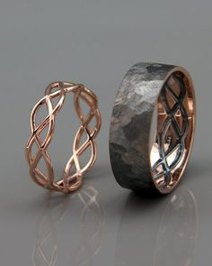 ✿ THE JEWELS Handmade solid rose gold rings set. Wedding ring is the one. - - ✿ THE JEWELS Handmade solid rose gold rings set. Wedding ring is the one piece of jewelry you wear the most. Hence, its design should go along wit. Celtic Wedding Bands, Wedding Band Sets, Wedding Ring Men, Black Gold Wedding Rings, His And Her Wedding Rings, Unusual Wedding Rings, Celtic Engagement Rings, Halo Engagement, Rose Wedding Rings
