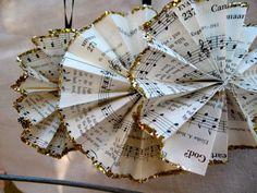SET of 3 / Vintage Paper Christmas Ornament / Handmade Hymnal Music Sheet Christmas Decoration. via Etsy.