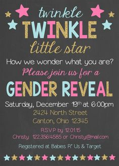 Girl Names Discover Twinkle Twinkle Little Star Gender Reveal Party Invitation - Gender Reveal Invitation Twinkle Twinkle Little Star Gender Reveal Party by LaLaExpressions Gender Reveal Party Invitations, Baby Gender Reveal Party, Gender Party, Gender Reveal Themes, Baby Invitations, Invites, Twinkle Twinkle Little Star, Baby On The Way, Baby Kind