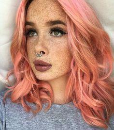 Peachy-keen color melt with Pravana & Joico color lines. #peach #coral #colormelt #fashionhair #pixlecat #freckles