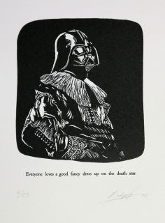 Everyone loves a good fancy dress up on the death star by Robert Fenton Lino Cuts, Fancy Dress Up, Death Star, Online Gallery, Lovers Art, Original Art, January, Printed, Type