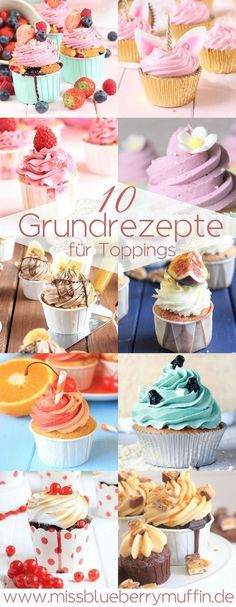 The 10 best toppings for cupcakes! Basic recipes for butter cream ganache Frostings cream creams and Co. The post The 10 best toppings for cupcakes! Basic recipes for butter cream ganache fr appeared first on Daisy Dessert. Cupcake Toppings, Cupcake Recipes, Cupcake Cakes, Dessert Recipes, Pizza Recipes, Muffin Cupcake, Gourmet Cupcakes, Gourmet Desserts, Party Recipes