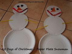 12 Days of Christmas – Paper Plate Snowman Build A Snowman, Snowman Crafts, Christmas Paper Plates, 12 Days Of Christmas, Confessions, Easy Crafts, Mom, Simple, Make A Snowman