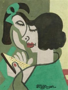 """books0977: """" Woman Reading (c.1930). Jean Metzinger (French, 1883-1956). Gouache on paper. """"Yet, style, in the sense of his own special way of handling form and color, remained for Metzinger the determining factor, something imposed on his subjects..."""