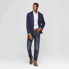 Outfits Discover Mens Straight Fit Jeans - Goodfellow & Co Dark Wash Dark Blue Business Casual Men, Men Casual, Men's Dressy Casual, Men's Smart Casual, Brown Boots Fashion, Casual Boots, Mens Clothing Styles, Jeans Fit, Men's Casual Fashion Over 40