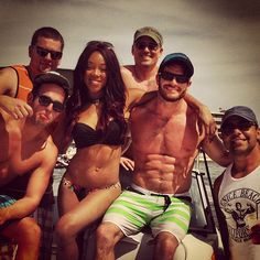 WWE Superstars Alicia Fox & Evan Bourne out on the water with the guys in Tampa #WWE