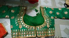 Blouse stuff: Golden Gota Patti work on Dhupian fabric, max one can alter according to size. Blouse Styles, Blouse Designs, Blouses, Fabric, Tejido, Tela, Blouse, Cloths, Fabrics