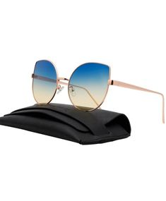 2c332069063 Color Tinted Flat Lens Cat Eye Sunglasses Women Oversized Shades 86931 -  Gold Frame (Blue to Yellow)ocean Lens - CX17YXX4ZUE