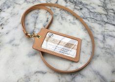 Handmade Leather Lanyard Leather ID Holder ID Badge by RitsandRits