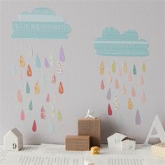 Rosenberry Rooms has everything imaginable for your child's room! Share the news and get $20 Off  your purchase! (*Minimum purchase required.) Summer Rain Fabric Wall Decals #rosenberryrooms