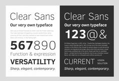 Clear Sans Modern and versatile font with good legibility.