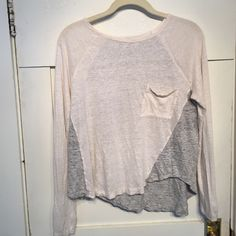 Madewell two tone top Lightweight top. Cream front with pocket and heathered gray in back and wraps around. Madewell Tops