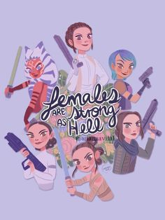 Happy International Women's Day! I've been getting a lot of requests to do something with jyn since rogue one came out but I honestly couldn't leave out ahsoka and sabine, let's be real. (also I know...