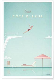 Côte d'Azur en Affiche premium par Henry Rivers / JUNIQE