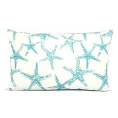 SALE     Create a seaside retreat easily with a beach decor coastal lumbar pillow cover in blue aqua coral and starfish reversible print.    ~1 PILLOW COVER ~ Pillow cover fits 12x20 insert (**insert sold separately**) ~ 100% cotton slub. ~ Turquoise blue, gray and white. ~ Coral reverse to star fish. ~ Invisible zipper on cover bottom. ~ Machine washable. ~ Made in USA. ~ Image shows front and back side prints. Item is for one pillow. ~ Comes packaged in Chloe & Olive gift wrap and hand…
