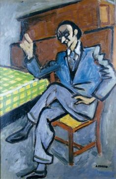 Auguste CHABAUD - 1882-1955 HOMME ASSIS PRÈS DE LA TABLE Huile sur panneau, si