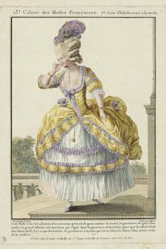 A Circassienne dress in the new style, of gauze in a sulphur colour, with trim in lilac gauze. The flounce trim is in the same colour as the dress, as is the bottom of the sabot. The whole thing trimmed in lilac and purple, even to the headdress 1778