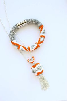 Grey & orange beaded pendant  Long chain necklace  Seed