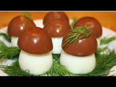 """Закуска из фаршированных яиц """"Грибы на поляне"""". Рецепт новогоднего салата - YouTube"""