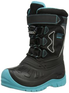 KODIAK GLO GRACIE LACE NAUTICAL Winter Weather Snow Boots Black/ Teal 818659 , 11. Waterproof quilted nylon and nubuck PU upper with barrel lock lace system. Adjustable collar with velcro strap and full bellows tongue. Slip resistant natural rubber tread design with built-in toe protector and heel kicker. Removable 6 mm wool / felt / polyester needle punched liner. Comfort rated: -40 °C / -40 °F.