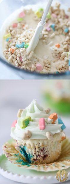 Lucky Charms Cupcake recipe - spring dessert - St. Patrick's Day dessert recipe