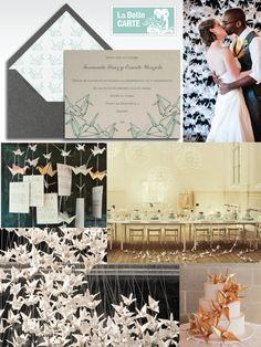 Invitaciones de Boda de Originami. Decoración e ideas: http://www.labellecarte.com/la_belle_blog/2012/06/13/1000-garzas-de-origami-buena-suerte-para-tu-boda-baby-shower-o-fiesta-con-invitaciones-e-ideas-de-origami/#    La Belle Carte