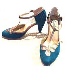 Turquoise and gold Seychelles Like new worn once low heel Seychelles Shoes Heels