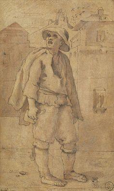 Annibale Carracci, Spazzacamino - Le Arti di Bologna (1585-1600) inchiostro, acquerello biacca su carta cm27,6x16,7 - National Gallery of Scotland, Edinburgh