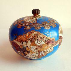 Vintage Antique Japanese Moriage Satsuma Lidded Tobacco Jar or