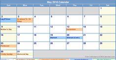 Calendar May 2010 With Holidays Calendar May, Academic Calendar, Periodic Table, Holidays, Life, Periodic Table Chart, Holidays Events, Periotic Table, Holiday
