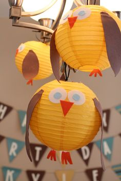 owl lanterns - this concept could work for any number of party themes