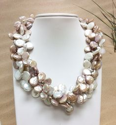 New triple strand blister pearl multi-color necklace. One of a kind.