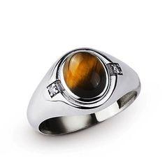 Men's Ring 10k White Gold Brown Tiger's Eye Natural DIAMONDS 0.04ct 5-14 US #mensring #mensdiamondring #goldmensring