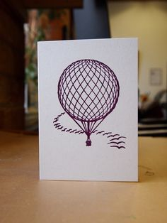 Hot Air Balloon letterpress card