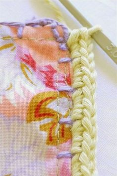 joining fabric squares with crochet borders    Sewing Daisies: Kaffe Fusion Blanket