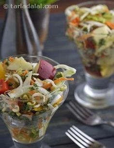 A pulpy fruit like muskmelon is pureed and used as a dressing unlike the usually fat laden options. A lively medley of veggies and fruits make this an interesting salad, which is further improved by the addition of bean sprouts. This nutritious salad can be had as a snack between meals to satiate impulse-attacks!