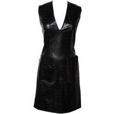 60s Black Vinyl Embossed Gator Print Shift Dress ❤ liked on Polyvore featuring dresses, strap dress, shift dress, mixed print dress, print dress and strappy dress