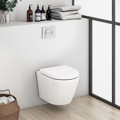 - Mode Harrison rimless wall hung toilet inc soft close seat and wall mounting frame - BUT toilet wall unit looks like it will be too high - min perhaps min if flush button on top. White Toilet Seats, Close Coupled Toilets, Pedestal Basin, Concealed Cistern, Back To Wall Toilets, Wall Mounted Toilet, White Vanity, Bowl Designs, Bathroom Collections